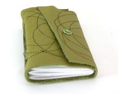Celery Green Leather Journal - Circles-