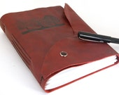 Christmas in JulyTrees - Large Leather Journal or Sketchbook - Crimson- christmasinjuly