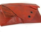 Little Red Devil with Grommets Leather Clutch-