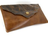 Rustic Earth Tone Leather Clutch- christmasinjuly
