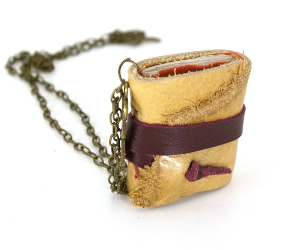 Leather Book Necklace - Yellow Rustic Leather