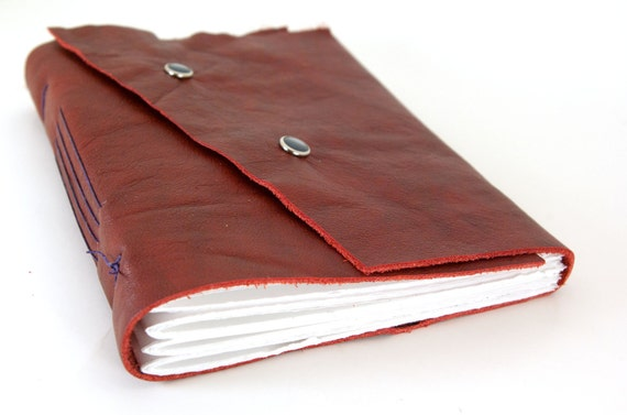 Christmas in July Large Leather Journal or Sketchbook - Crimson-