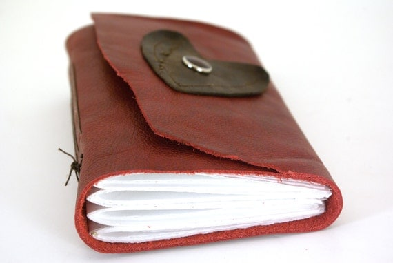 Crimson and Chocolate Hearts- Small Leather Journal or Sketchbook-