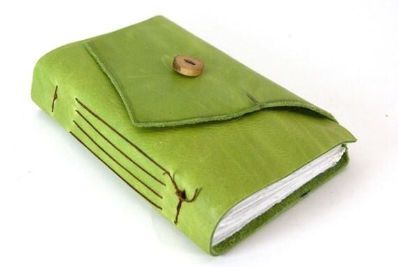 Leather Journal or Sketchbook  - Apple Green-