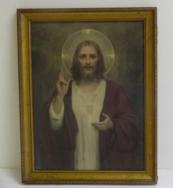Vintage Framed Jesus Picture The Sacred Heart By Allunique