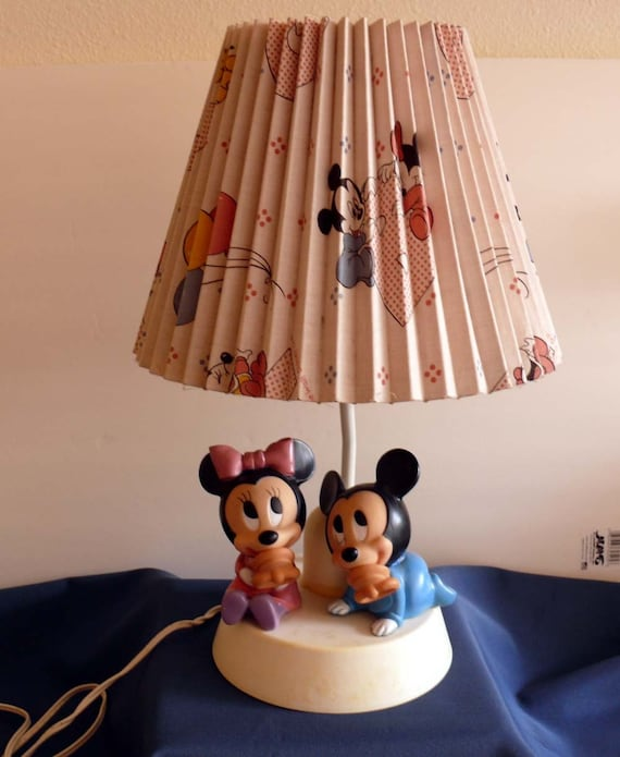 Vintage Disney Baby Mickey And Minnie Mouse Child Bedroom Lamp
