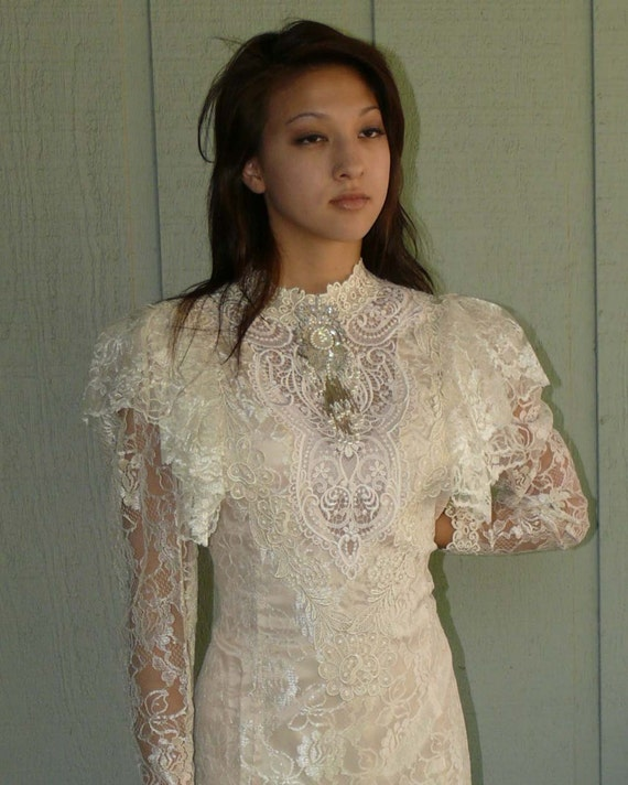 Lorrie Kabala Princess Ivory Lace Victorian Floor Length