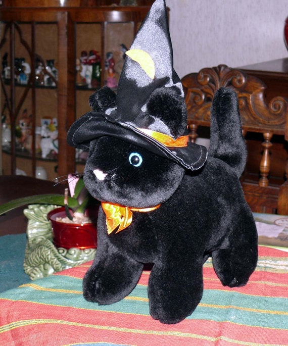 black cat stuffed toy halloween witches hat. Black Bedroom Furniture Sets. Home Design Ideas