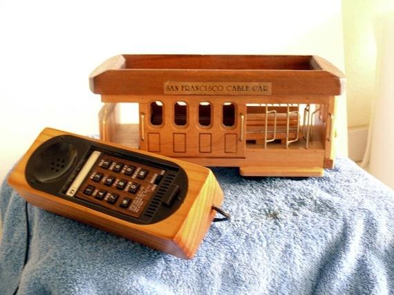 San Francisco Cable Car Novelty Telephone Maple Wood Finish