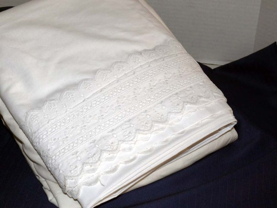 Percale King Size Sheets Eyelet Border Scallop Edge By
