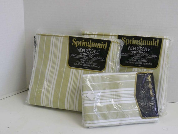 percale green striped king size flat sheets and pillow cases. Black Bedroom Furniture Sets. Home Design Ideas