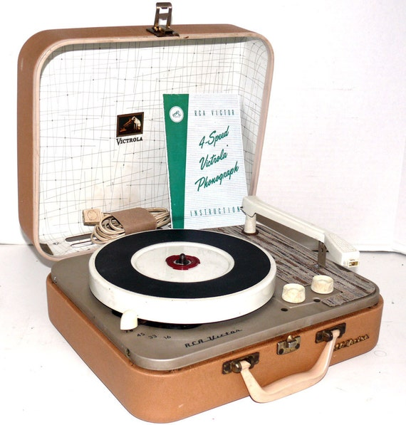 1950s Tan RCA Portable Record Player with Warranty