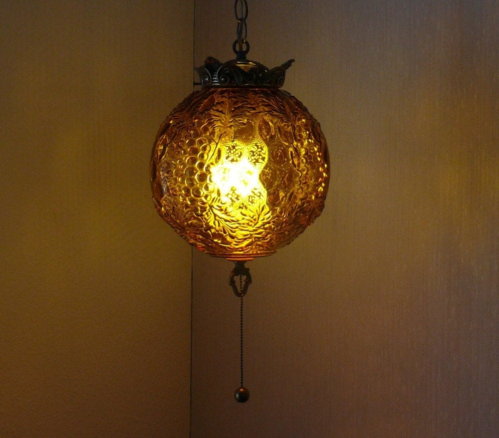 Vintage 1960 1970 Hanging Globe Light Fixture
