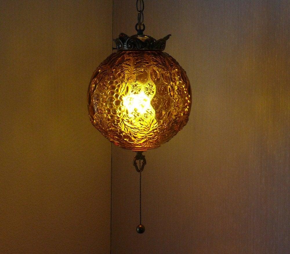 vintage 1960 1970 hanging globe light fixture. Black Bedroom Furniture Sets. Home Design Ideas