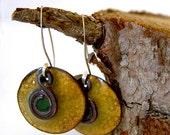 Earrings Copper Enamel, Babylonian Treble