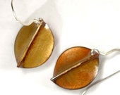 Copper Enamel Earrings, Golden Leaves