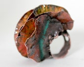 Ring, Fold Form Copper and Enamel Dangerous Vagina