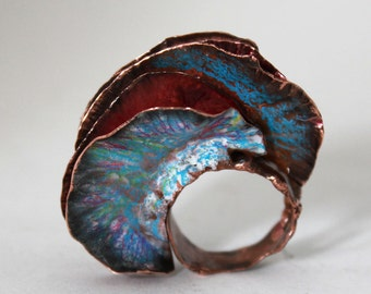 Ring, Dangerous Vagina - Fold Form Copper and Prismacolors