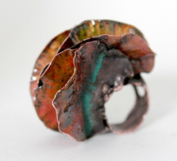 Ring, Fold Form Copper and Enamel Dangerous Vagina
