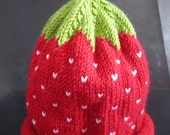 RESERVED for Nania Shea - Hand Knitted Cashmere and Wool Strawberry Baby Hat age 2-3
