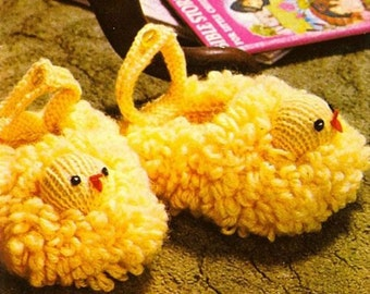 Vintage Toddler's Chick Slippers Knitting Pattern