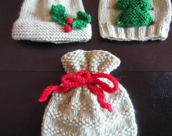 Christmas Baby Hats Knitting Pattern  sizes premature newborn 3 months