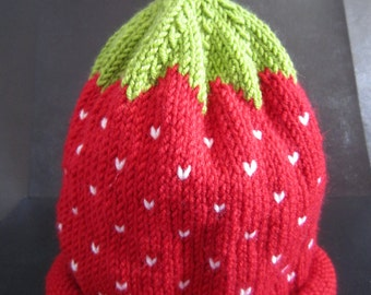 Hand Knitted Cashmere and Wool Strawberry Baby Hat 0-3 months