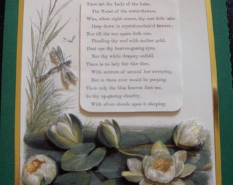 Waterlily and Dragonfly Greeting Card with Waterlily Poem - 3d decoupage