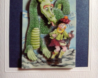 Scottish Design Greeting Card - Loch Ness Monster and Sotsman - 3D Decoupage