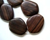 large wood beads  freefrom tile 2 pcs 48 x 58 mm  brown  sono wood ,  bwo10