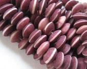 Raw mauve bone beads rondelle saucer    - 25 pcs -   1bbo22