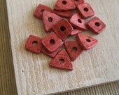 Ceramic beads -  spacers square triangle mix  washer  beads - rustic red rose  - 40 pcs -1mk66