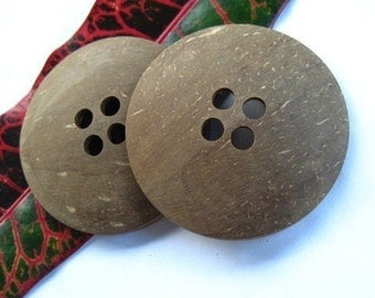 large coconut button ,oversized button , chunky brown Button,round natural button,exotic indonesia craft supply  2 pcs/ 57 to 60mm  - 4bbu12