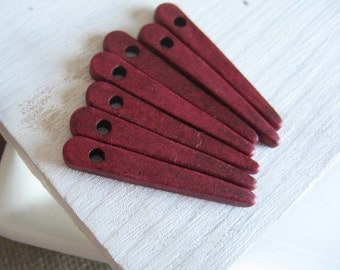 Spike Ceramic beads , skinny stick  dagger   spike pendant  ,  matte opaque dark red burgundy grenadine  - 10 pcs - 1mk14