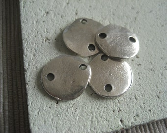 Silver round connector, flat round coin connector,  rustic metal casting freeform, 14mm, antiqued silver plated/ pewter tone (6 pcs )3amk2
