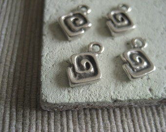 small spiral metal casting  charm   - antiqued silver plated ,  pewter tone  -  8 x 10 mm  /  8 pcs - 2mk17