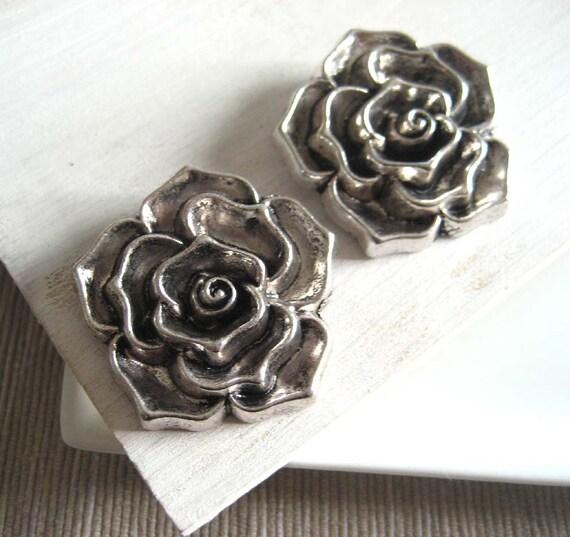 Metal flower ROSE pendant antiques silver  - large pc - 37 mm - 2 pcs - 1pa27