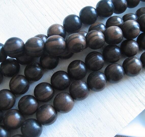 beads wood CAMAGONG wood -  round large 15 mm - full strand 28 pcs - ph37