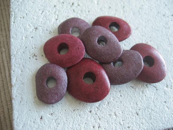 Ceramic beads cornflake   - grenadine purple  mix    - 10 pcs - 2mk64