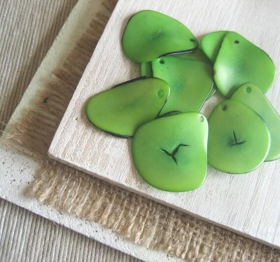 Tagua Pendants  -  lime green   pendants  freeform Chip -  thin slices  -  10  pcs  -  2ta7