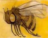 "ACEO  ink and pen ""oh, bees.""  2.5""x3.5"" free shipping"