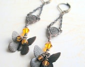 Earrings - Butterfly and Swarovski Crystal