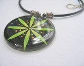 Leather Cord Glass Pendant Necklace