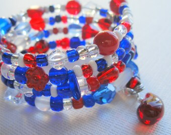 Wrap Bracelet with Red White and Blue Glass Beads and Memory Wire