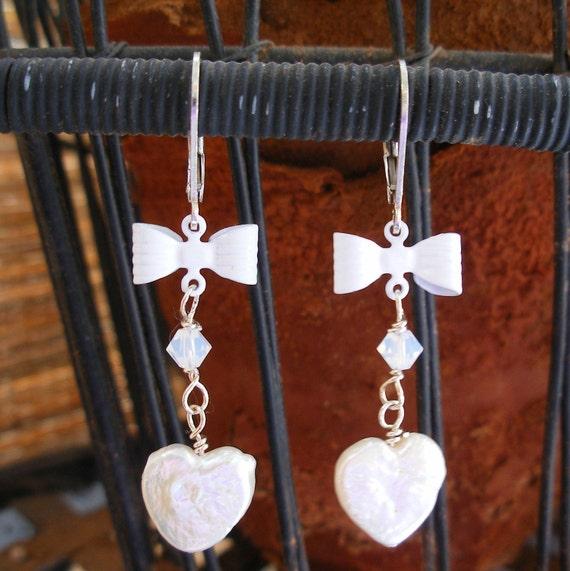 Sweetheart Earrings - Heart Shaped Freshwater Pearls