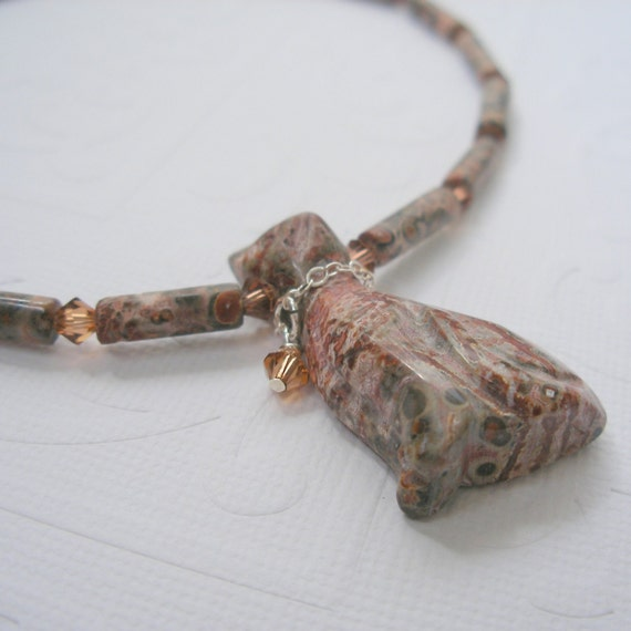Necklace - leopardskin jasper and crystal adjustable necklace