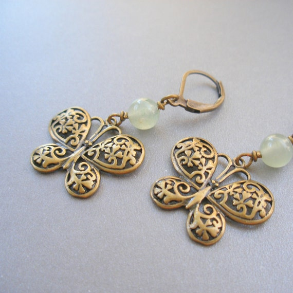 Butterfly and Green Aventurine Earrings