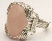 Oval Wire Wrap Rose Quartz Sterling Silver Ring. Custom Personalized Sizing to fit you.