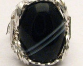 New Wire Wrap Black and White Onyx Sterling Silver Ring 925.   Custom Sized to fit you.