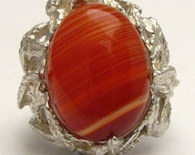 Red White Sardonyx Onyx Cab Gemstone Solid Sterling Silver Ring.   Custom Sized to fit you.
